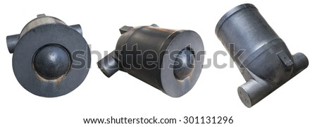 the Old cannon over white background - stock photo