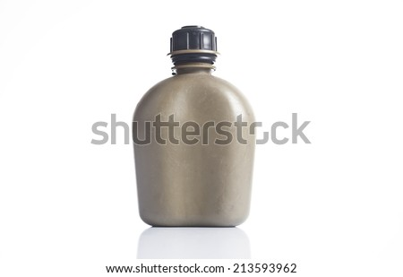 The old canteen on white background.  - stock photo