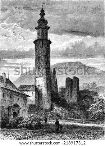 The old castle of Arnstadt, vintage engraved illustration. Le Tour du Monde, Travel Journal, (1872).  - stock photo