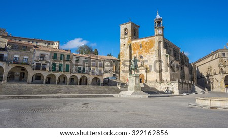 The old center of the town, Plaza Mayor at Trujillo. Spain. Wide angle - stock photo