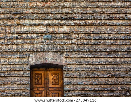 The old church wall detail in Florence