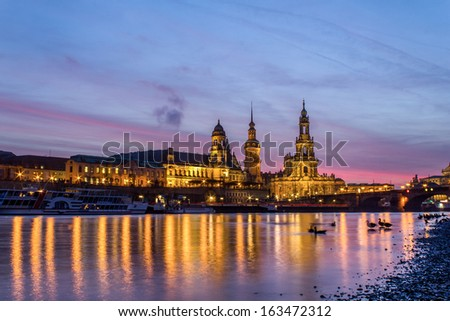 the old city of Dresden at sundown - stock photo