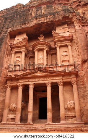 The old city of Petra in Jordan.It was carved out the rocks. It is now an UNESCO World Heritage site.