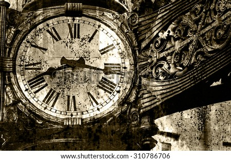 The old clock on the background of rust (double exposure, black & white photo ) - stock photo
