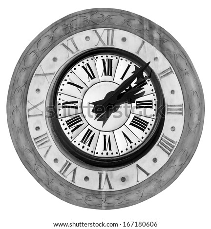 The old clock on the tower in the  Briancon, France - isolated over white background (black and white) - stock photo