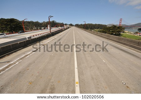The old Doyle Drive roadway or freeway approach to the Golden Gate Bridge is abandoned. - stock photo