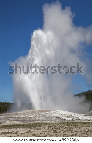The Old Faithful erupting, Yellowstone National Park, Wyoming, USA - stock photo