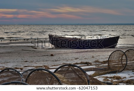The old fishing boat - stock photo