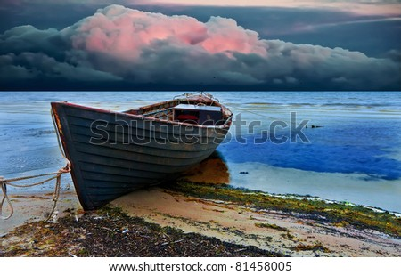 The old fishing boat, Baltic Sea - stock photo