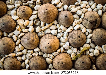 The old flooring with coconut - stock photo