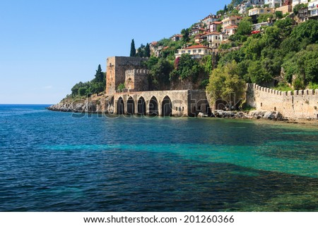 The old fortress and Mediterranean sea in Alanya, Turkey  - stock photo