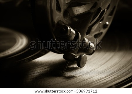 The old gramophone. Closeup view. Toned.