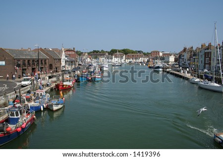 The old harbour at Weymouth, Dorset in England. - stock photo