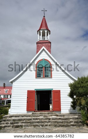 The old indian church of Tadoussac was built in 1747 - stock photo