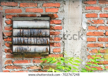 Old Industrial Fan On Brick Wall Stock Photo (Royalty Free ...