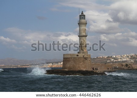 The old lighthouse at Venetian port of Chania, Crete, Greece