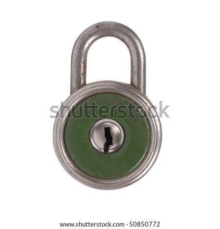 The old lock. Isolated object on a white background - stock photo