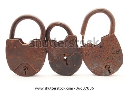 The old locks on a white background - stock photo