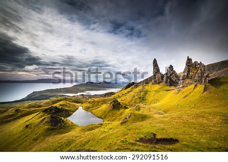 The Old Man of Storr, Isle of Skye, Scotland. The Old Man of Storr during a very cloudy day. - stock photo