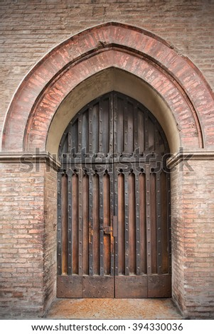 The old medieval door - stock photo