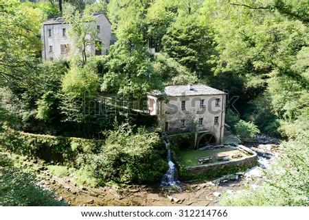 The old mill of Bruzella on Muggio valley, Switzerland - stock photo