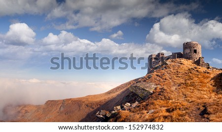 The old observatory on Mount Pip Ivan in Carpathians. Ukraine, Europe.