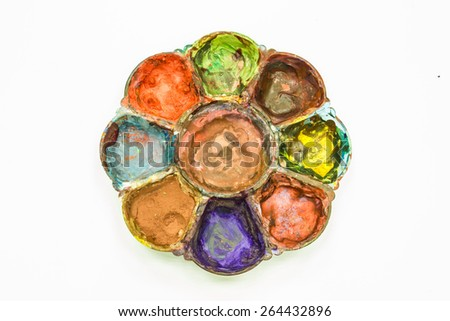 The old Palette  for art  on a white background