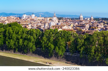 The old part of Rome, located across the Tiber River. Italy. - stock photo