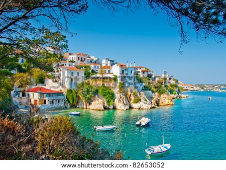 the old part of town in island Skiathos in Greece - stock photo