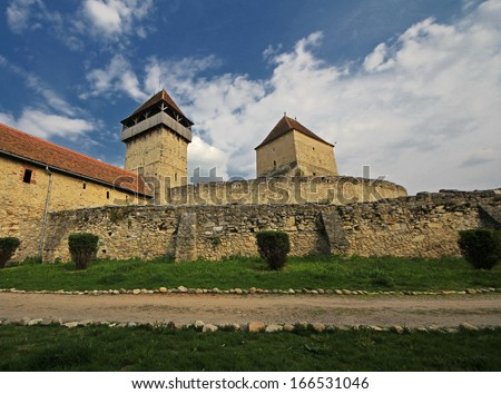 The old peasant's fortress with stone walls in Calnic, Romania - stock photo