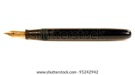 The old pen with gold nib isolated on white background - stock photo