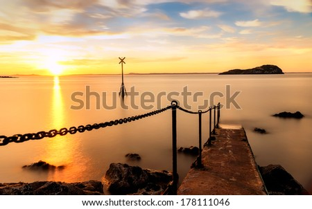 The Old Pier at Sunset, North Berwick - stock photo