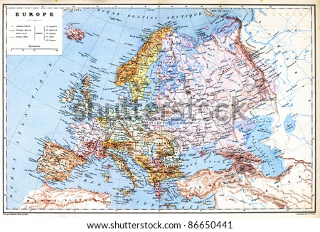 The old planispheric map of Europe with explanation of signs on map from the late 1800s,  Trousset encyclopedia (1886 - 1891). - stock photo