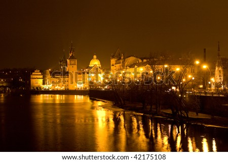 The old Prague and Lesser Town of Prague in the night - Czech republic