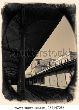 the old railway station in Poland - stock photo