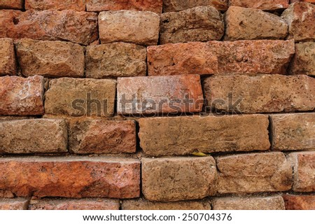 The Old red brick wall background vintage