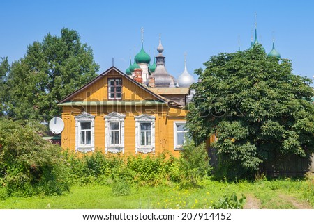 The old russian wood house in Rostov city with satellite dish, The Golden Ring, Russia