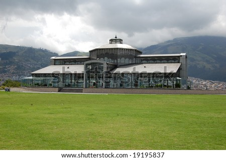 The old Santa Clara market built in Hamburg, Germany, and brought to Ecuador in pieces. Rebuilt in all its glass-and-metal glory on top of a hill east of Old Town is now a museum and cultural center. - stock photo