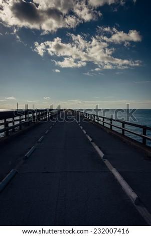 The Old Seven Mile Bridge, on Overseas Highway in Marathon, Florida. - stock photo