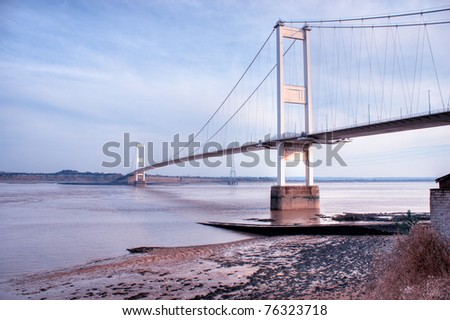 The old Severn Bridge on the England Wales border