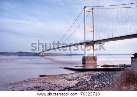 The old Severn Bridge on the England Wales border - stock photo