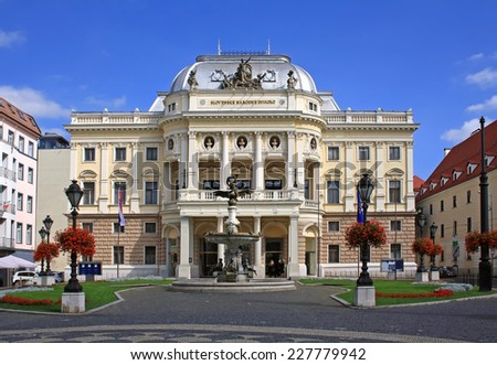 The old Slovak National Theatre building in Neo-Renaissance style - stock photo