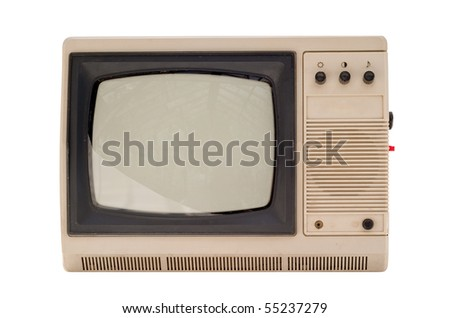 The old small TV set isolated on white background - stock photo