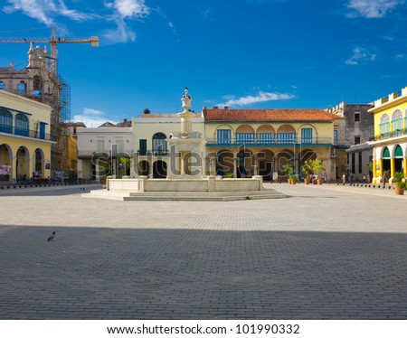 The Old Square, in spanish known as Plaza Vieja, a touristic landmark famous for its colonial architecture in Old Havana - stock photo