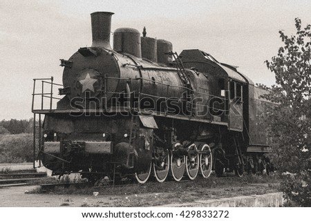 The old steam train. Vintage view - stock photo