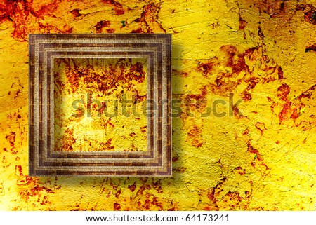The old stone room with frame in Victorian style - stock photo