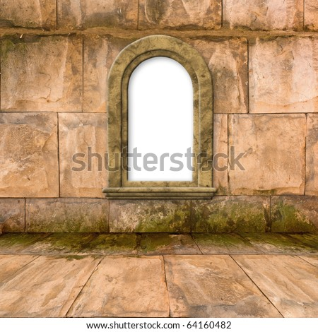 The old stone room with window in Victorian style - stock photo