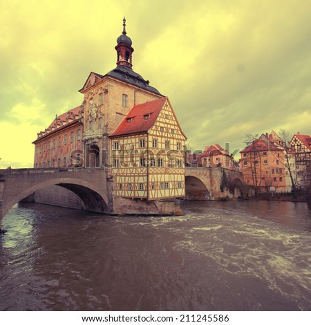 The Old Town Hall of Bamberg(Germany)was built in the middle of the Regnitz river, accessible by two bridges. Old Town of Bamberg is listed as a UNESCO World Heritage. Instagram effect, square image - stock photo