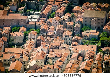 The Old Town of Dubrovnik, Croatia. top view - stock photo