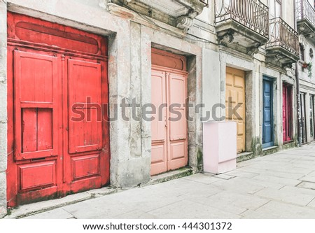 The old town of Porto in Portugal - Street view of colorful doors - Vintage editing & Vintage Door Stock Images Royalty-Free Images u0026 Vectors ... pezcame.com